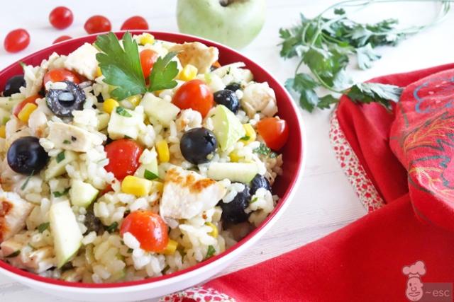 Ensalada de arroz. ensaladas de verano