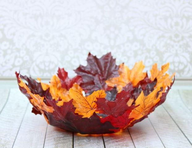 bol de hojas decoración diy en otoño